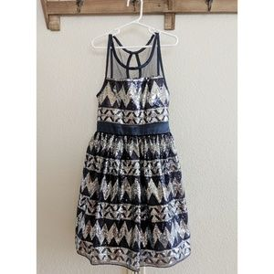 Beautiful navy silver sequin holiday dress